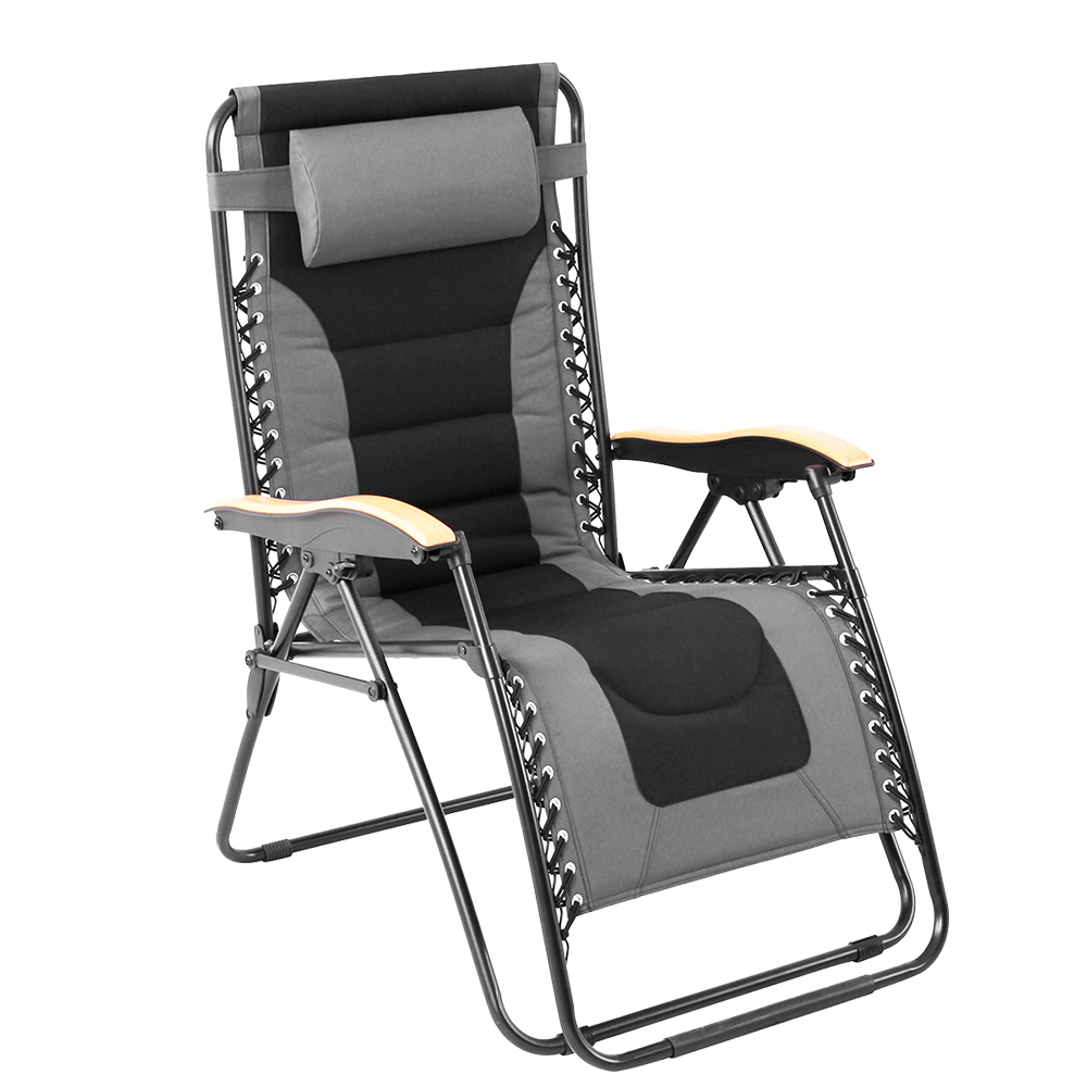 Padded Zero Gravity Chair XL with Wooden Pattern Armrest, Gray and Black