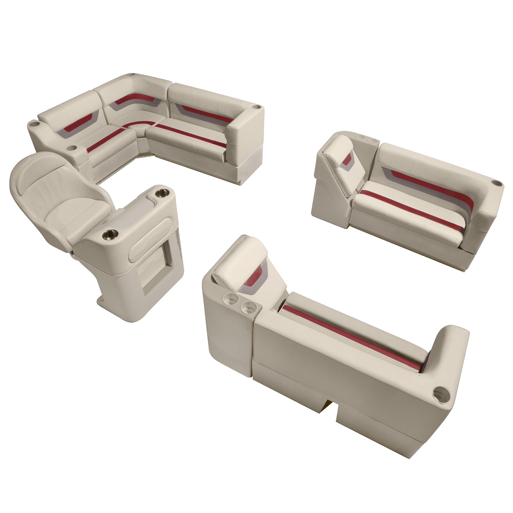 Designer Pontoon Furniture - Complete Boat Package, Platinum/Dark Red/Mocha