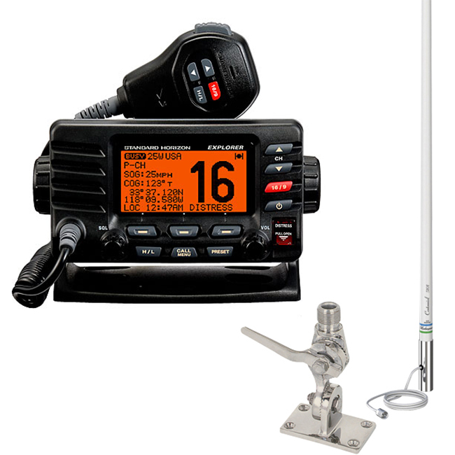 Standard Horizon Explorer GX1600 VHF Radio Package, Black, w/Antenna & SS Mount