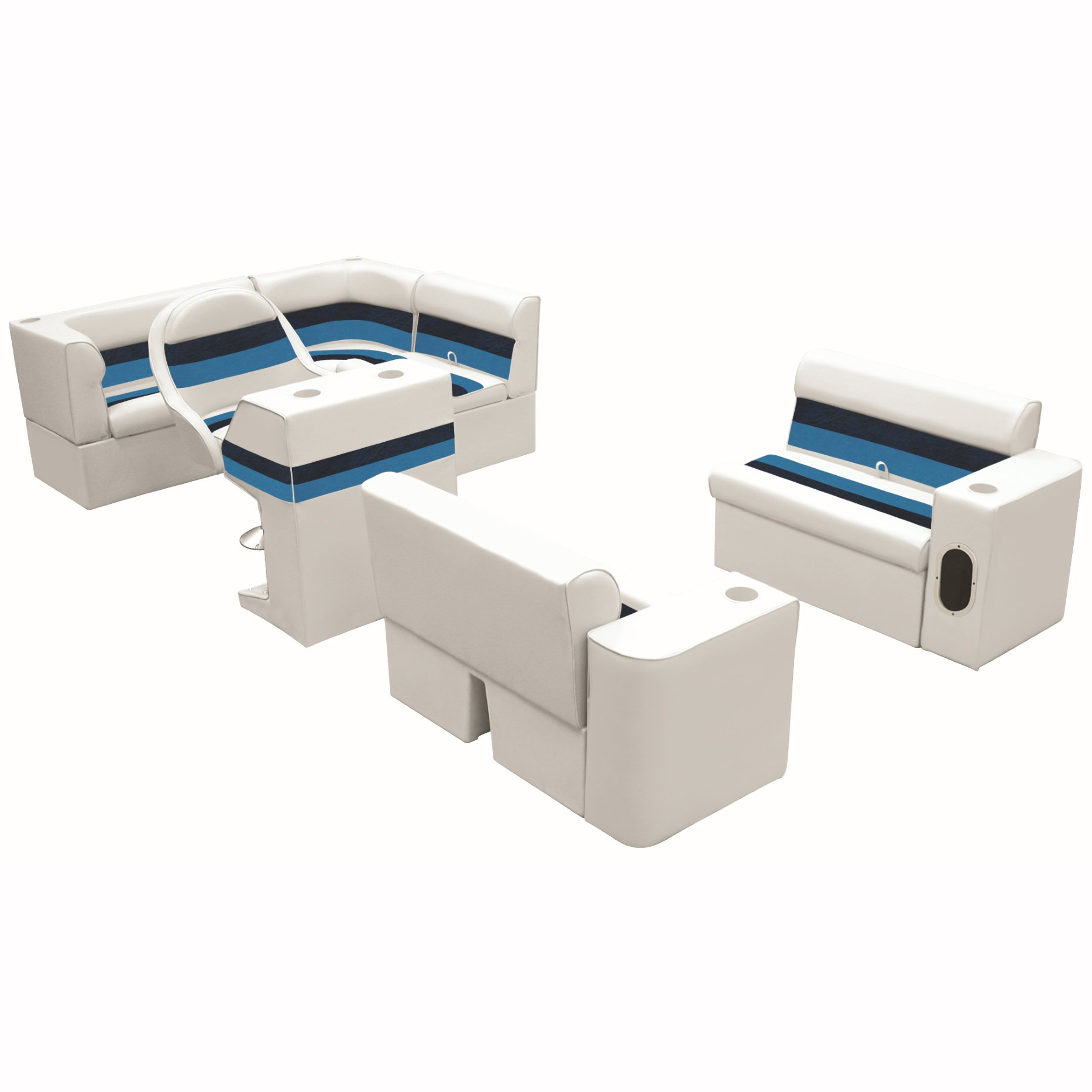 Deluxe Pontoon Furniture w/Classic Base - Complete Boat Package C, White/Nvy/Blu