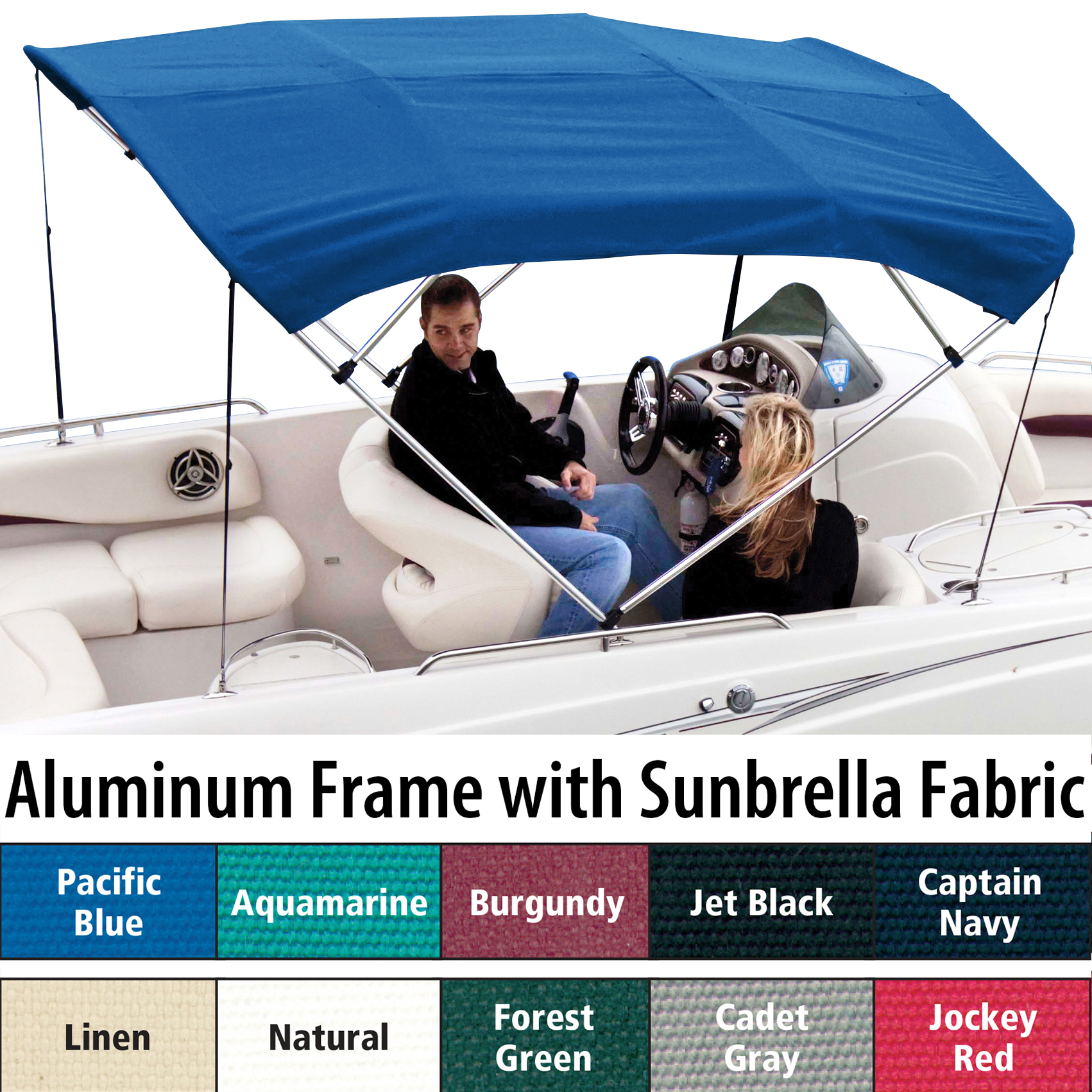 "Shademate Sunbrella 4-Bow Bimini Top, 8'L x 42""H, 67""-72"" Wide"