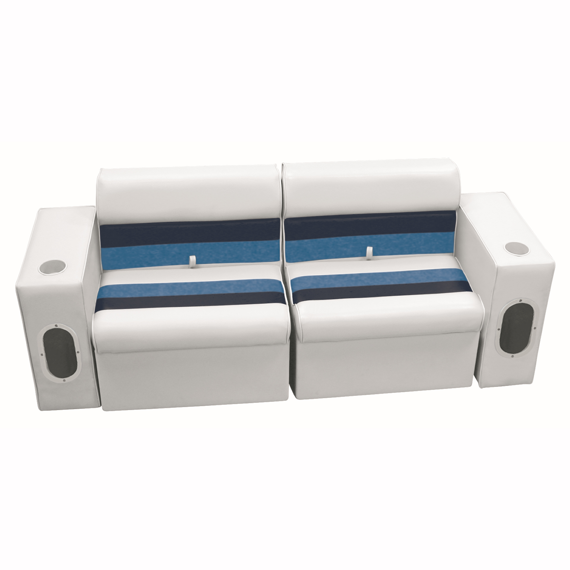 Deluxe Pontoon Furniture w/Classic Base - Front Group Package E, White/Navy/Blue