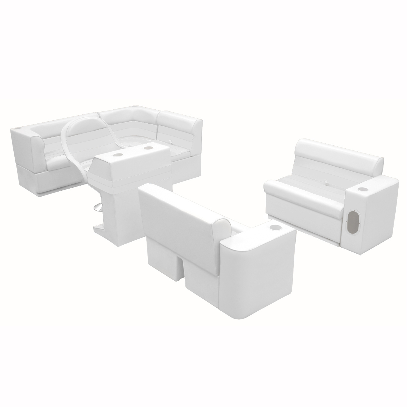 Deluxe Pontoon Furniture with Toe Kick Base, Group 1 Package, White