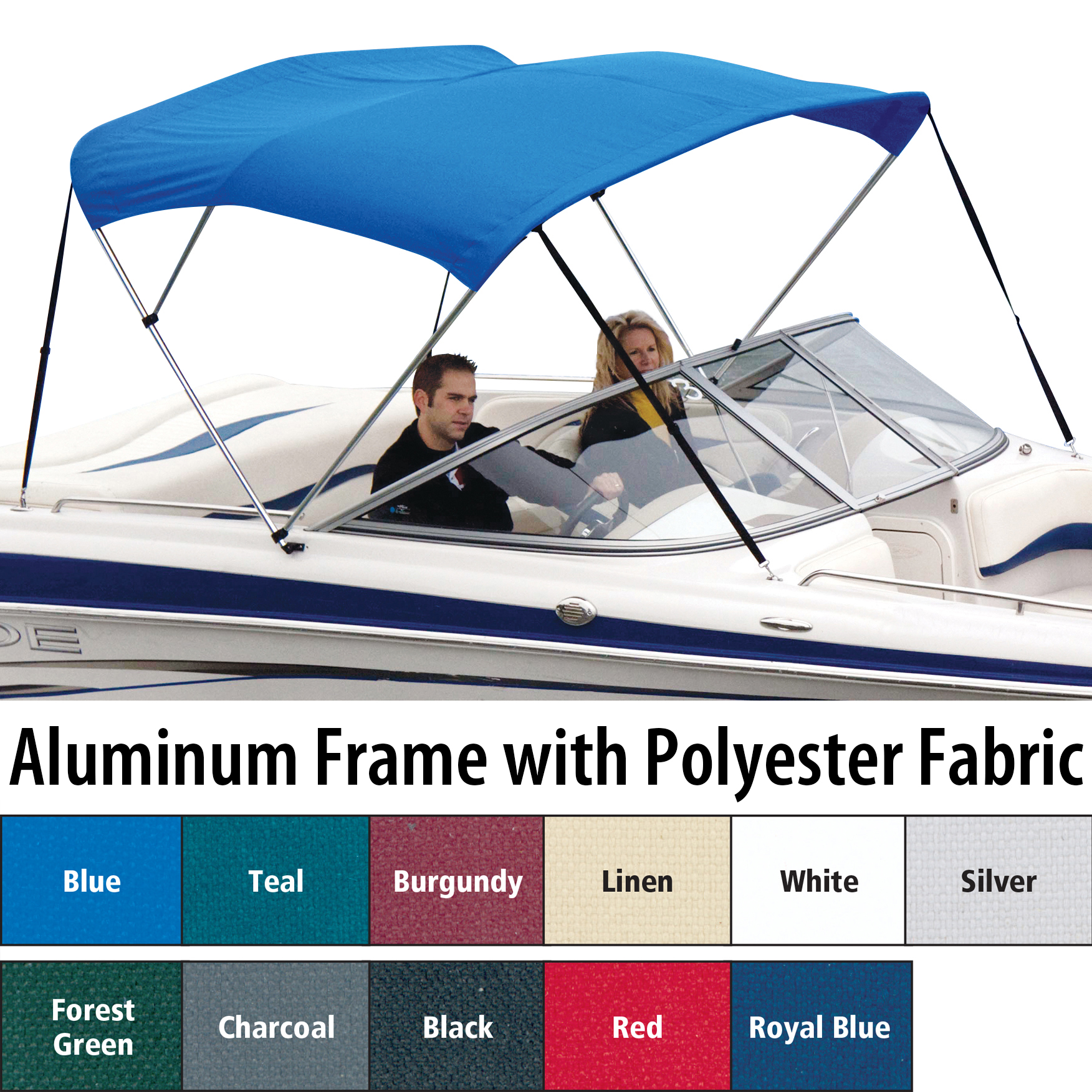 "Shademate Polyester 3-Bow Bimini Top, 6'L x 54""H, 54""-60"" Wide"