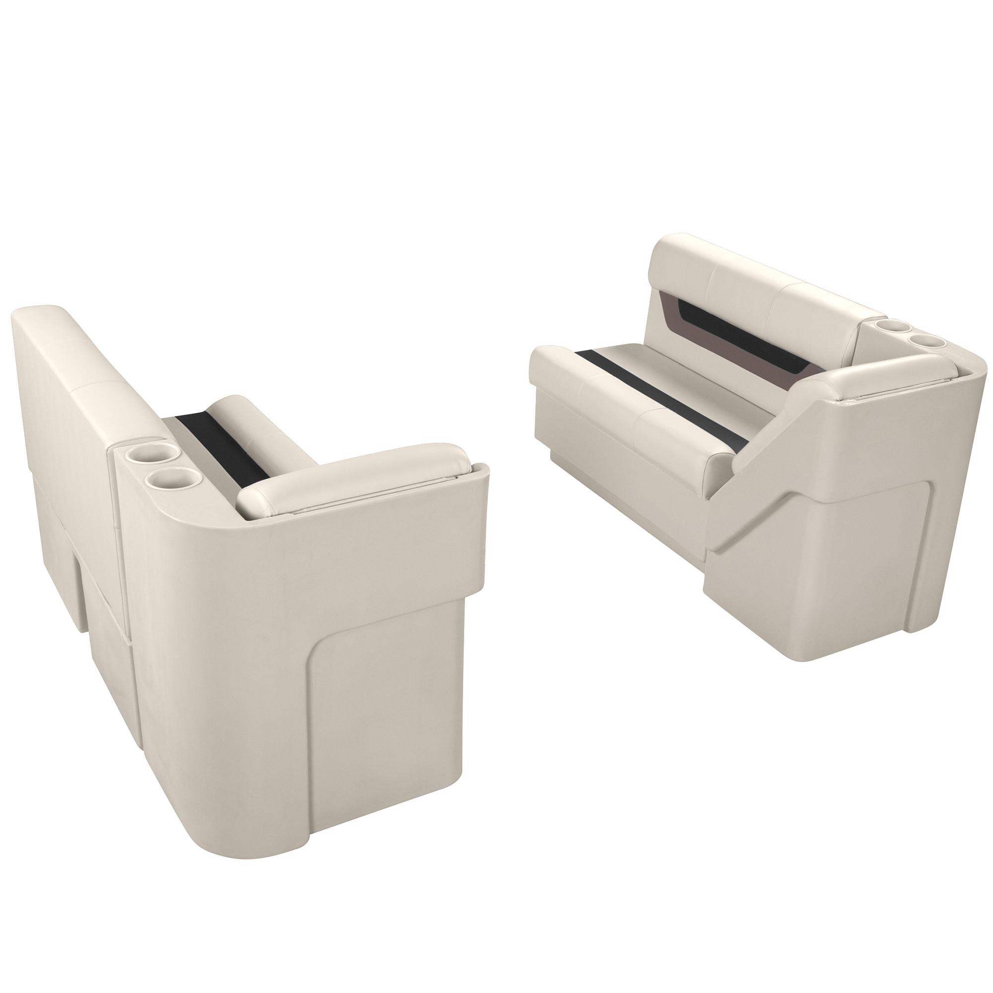 """Designer Pontoon Furniture - 54"""" Front Lounge Package, Platinum/Black/Mocha"""