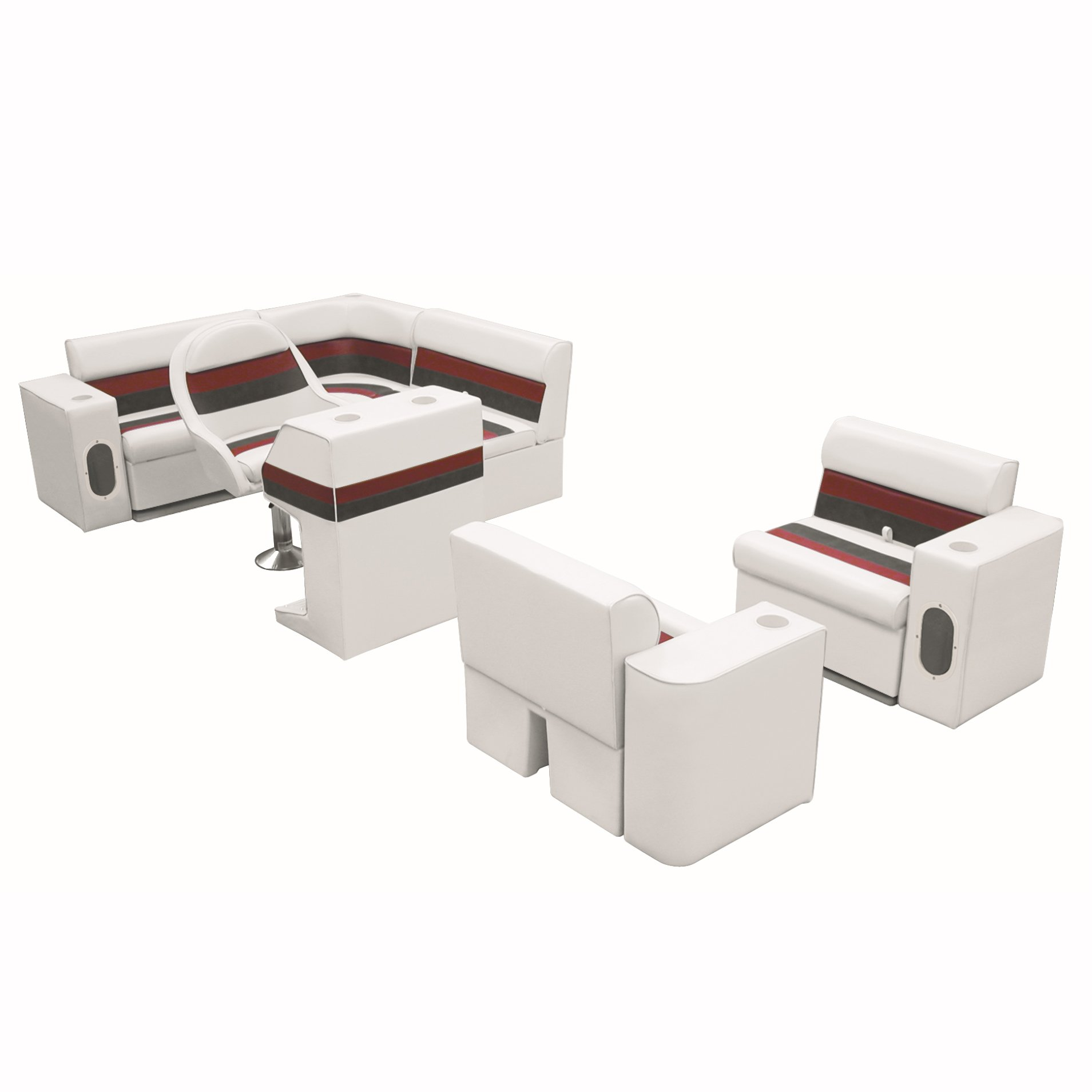 Deluxe Pontoon Furniture w/Toe Kick Base, Group 6 Package, White/Red/Charcoal