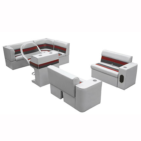 Deluxe Pontoon Furniture w/Classic Base - Complete Boat Package C, Gray/Red/Char