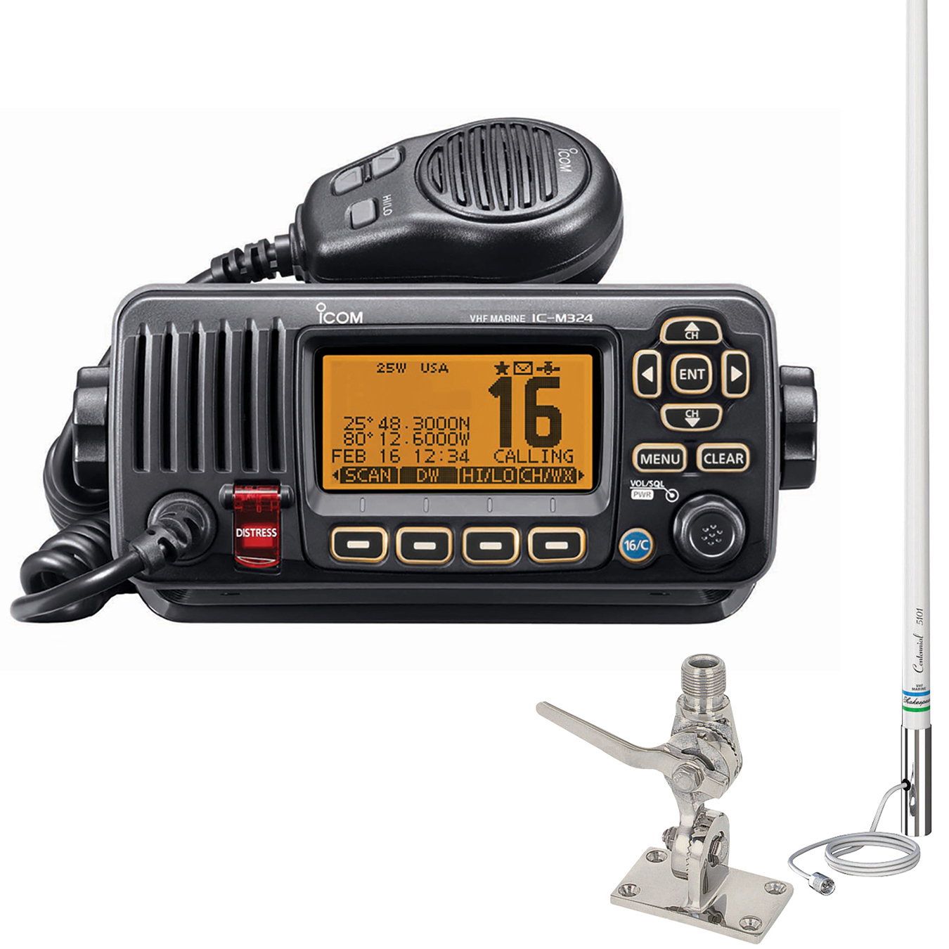ICOM M324 VHF Marine Radio Package Black, w/5101 Classic 8' Antenna and SS Mount